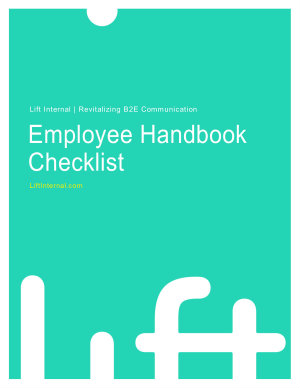 Employee handbook checklist lift internal for Employee handbook cover design template